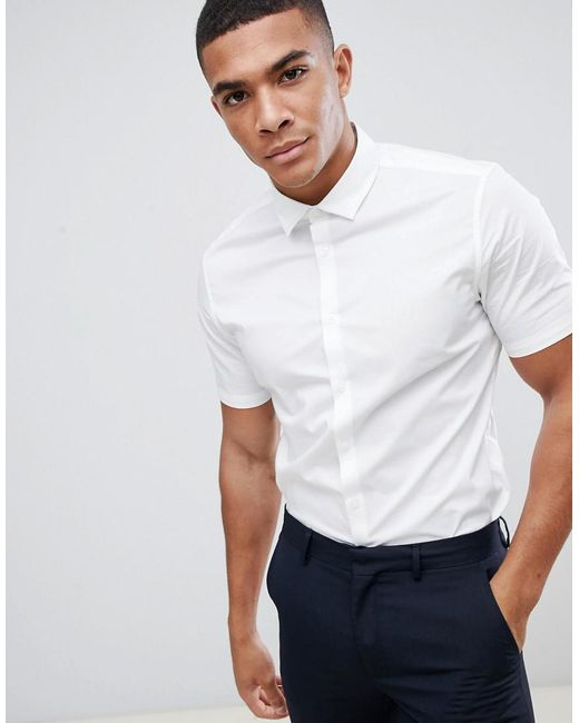 ASOS - Stretch Slim Formal Work Shirt With Short Sleeves In White for Men - Lyst