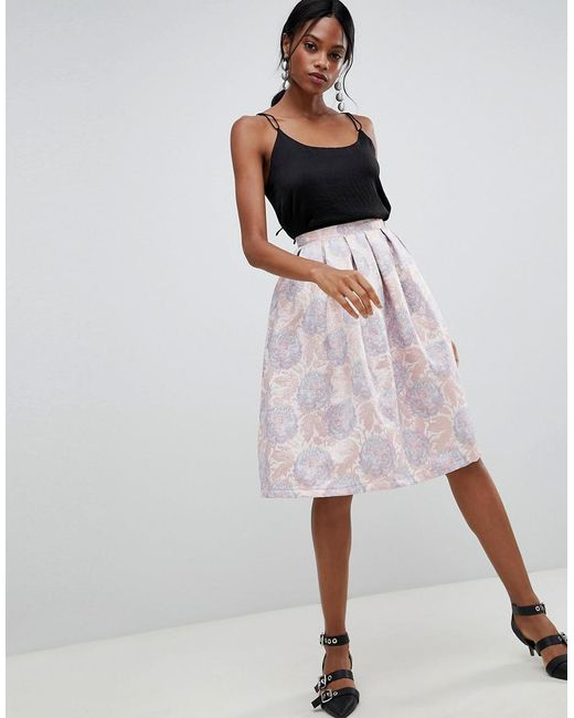 Liquorish - Pink Floral Jaquard Pleated Prom Skirt - Lyst