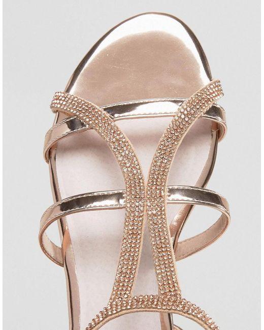 Faith Jimi Rose Gold Embellished Flat Sandals In Metallic