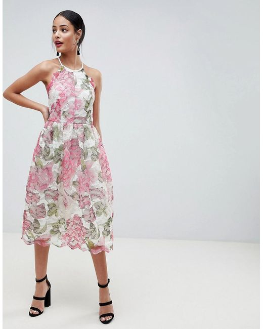 ASOS - Pink Design Pinny Prom Midi Dress In Floral Lace - Lyst
