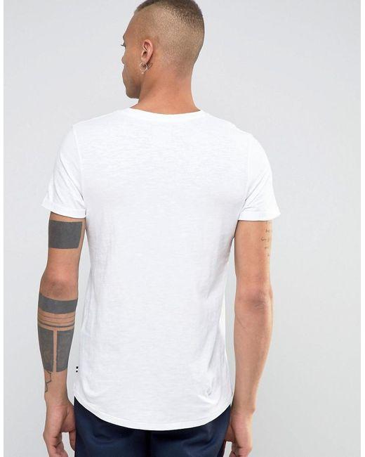 Produkt v neck t shirt with pocket in white for men lyst for Men s v neck pocket tee shirts