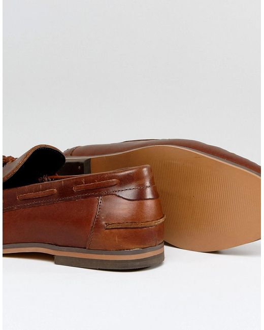 ASOS Tassel Loafers In Leather With Fringe And Natural Sole WY3qHHPYQ
