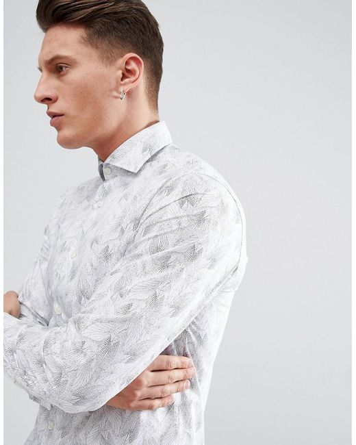 SELECTED - White Slim Fit Smart Shirt With All Over Print for Men - Lyst