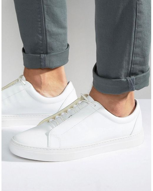Vagabond Paul Leather Trainers In White For Men