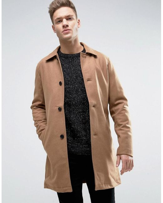 jack jones originals wool overcoat in natural for men lyst. Black Bedroom Furniture Sets. Home Design Ideas