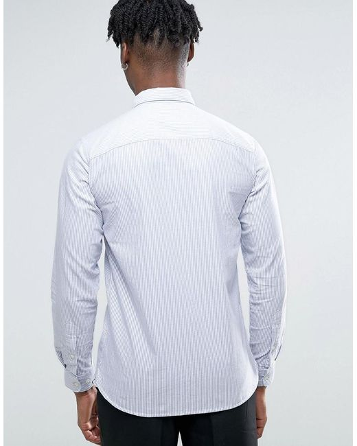 Selected long sleeve slim fit stripe oxford shirt with for Hidden button down collar shirts