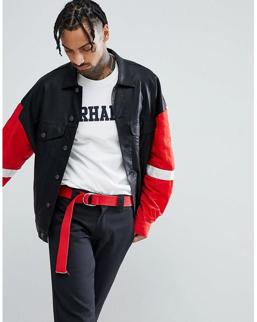 ASOS - Design Leather Look Oversized Western With Nylon Sleeves In Black for Men - Lyst