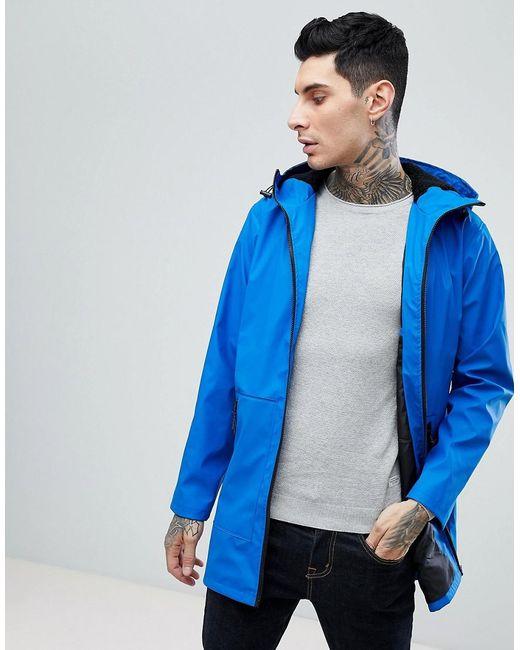 ASOS - Shower Resistant Rain Coat With Fleece Hood In Blue for Men - Lyst