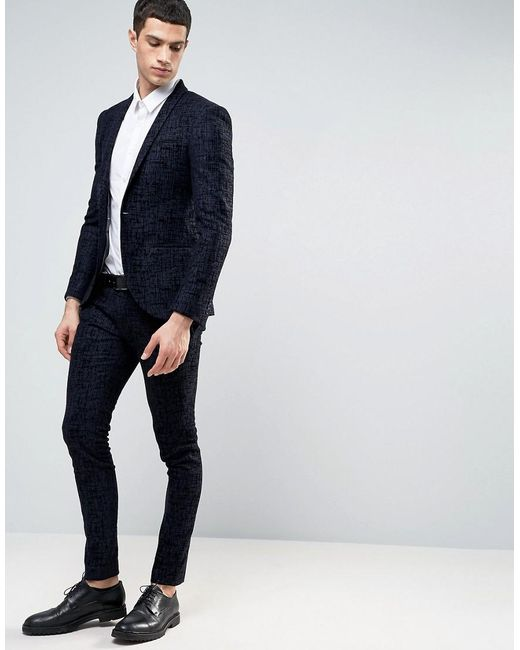 Noak Super Skinny Suit Pants With Flocking in Blue for Men | Lyst