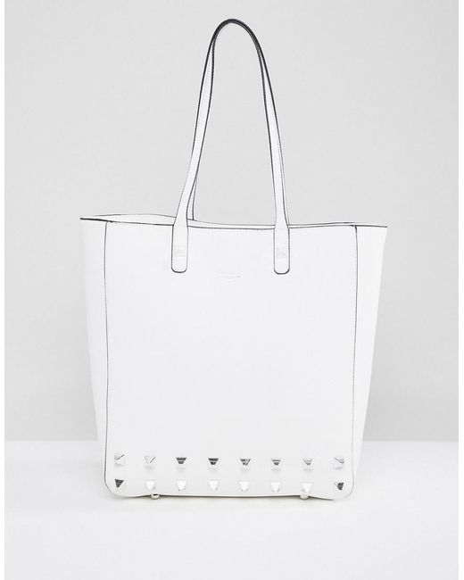 Dune - White Studded Tote Bag - Lyst