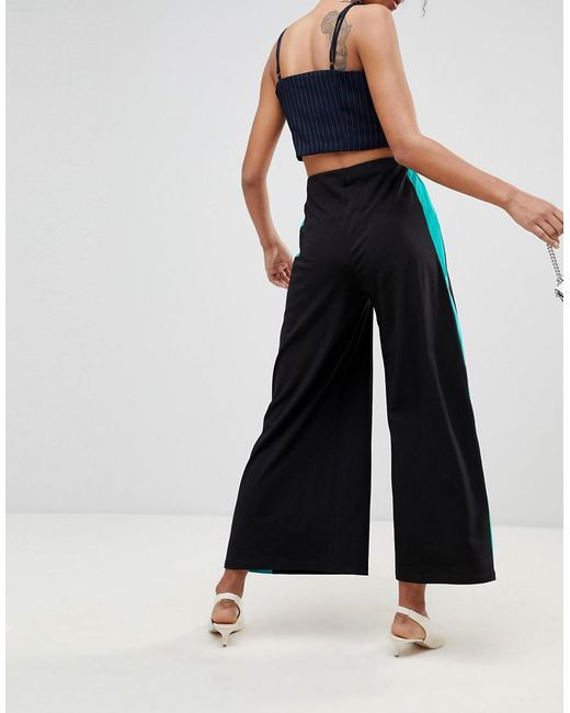 479e66accff2 ... ASOS - Black Wide Leg Pants With Contrast Side Stripe - Lyst