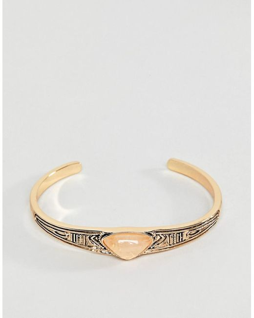 ASOS - Metallic Engraved Stone Bracelet - Lyst