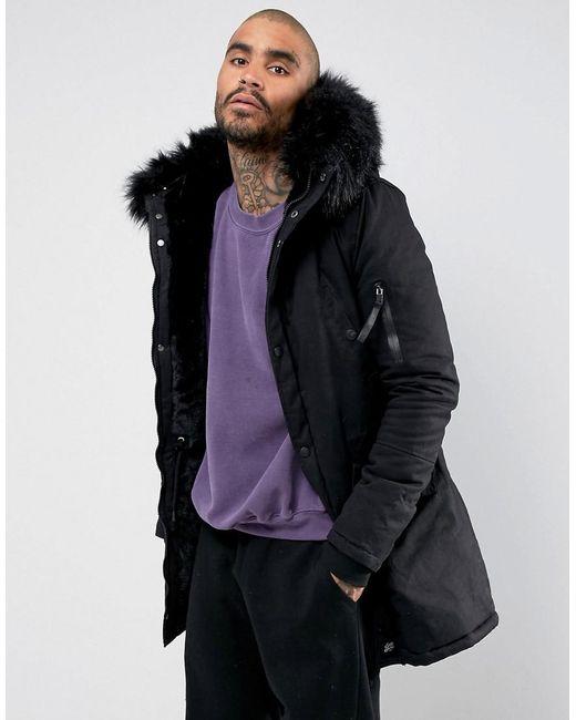 5c8b841a9ff7b Sixth June - Parka Coat In Black With Black Faux Fur Hood for Men - Lyst ...