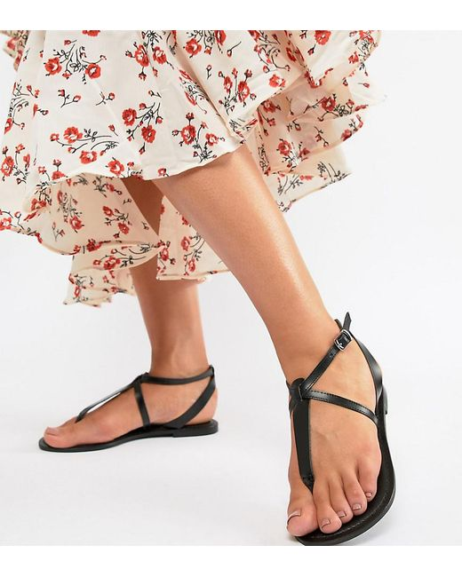 eb2970b75ff83 ASOS - Black Wide Fit Forbes Leather Flat Sandals - Lyst ...