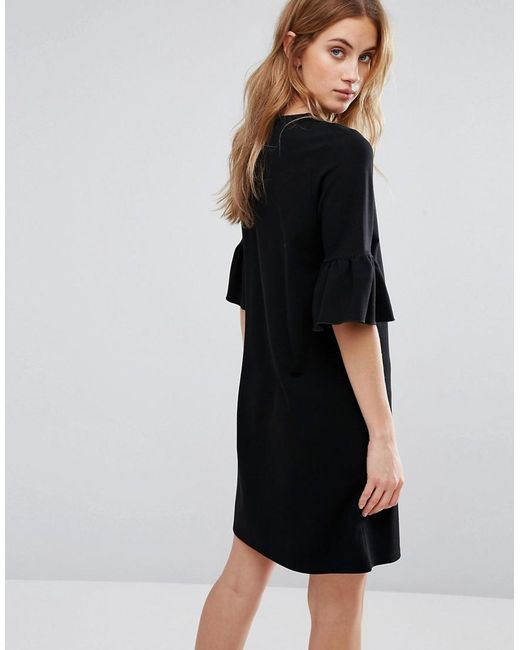 New Look Ruffle Sleeve T Shirt Dress In Black Lyst