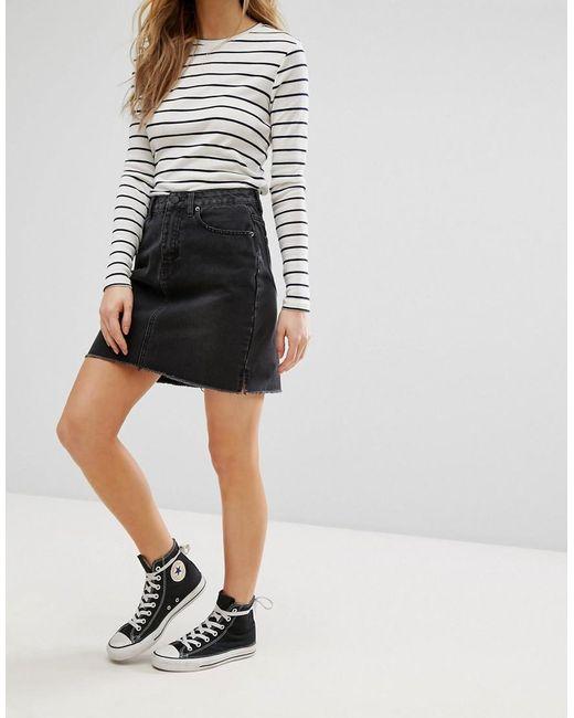 new look hem denim skirt in black lyst