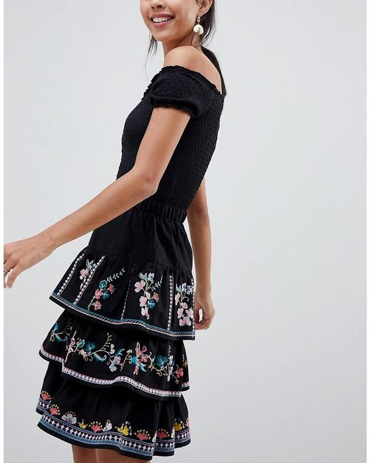 ASOS - Black Tiered Mini Sun Skirt With Embroidery - Lyst
