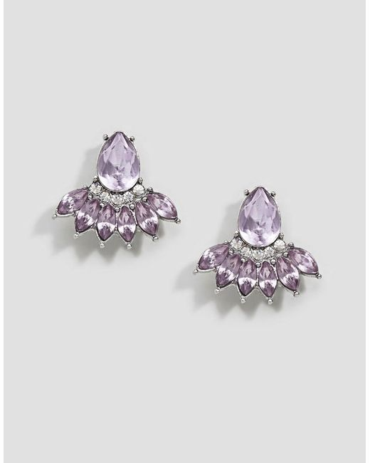ASOS - Purple Design Occasion Teardrop Jewel Earrings - Lyst