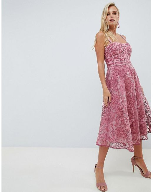 65d97814985 Forever New - Pink Lace Prom Dress In Deep Rose - Lyst ...