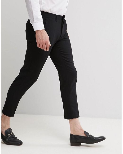 Only Amp Sons Skinny Cropped Pants In Black For Men Lyst