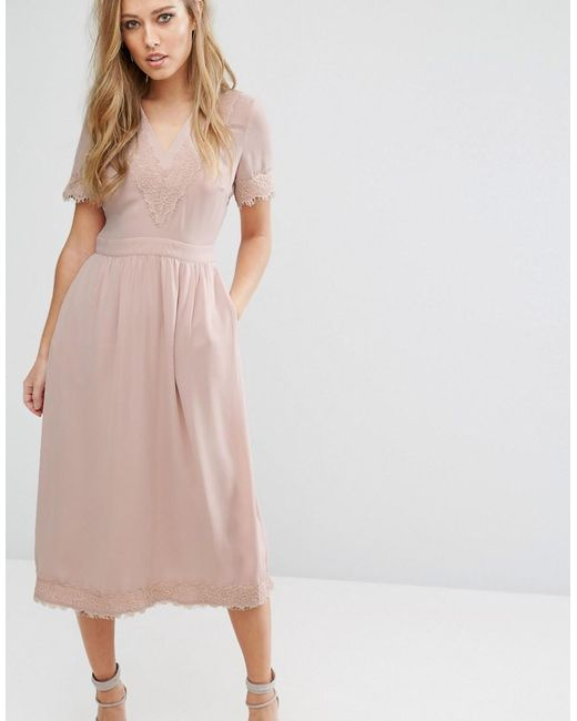 Warehouse Lace V Neck Midi Dress In Pink
