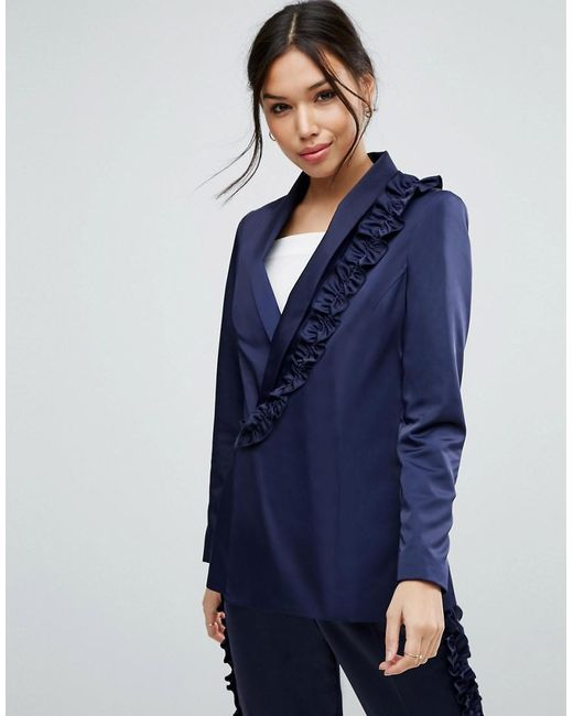 ASOS - Blue Ruffled Satin Suit Jacket - Lyst