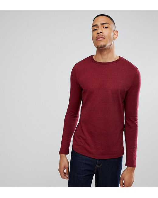 08212e2acf ASOS - Red Asos Tall Long Sleeve T-shirt In Heavy Twisted Jersey With Roll  ...