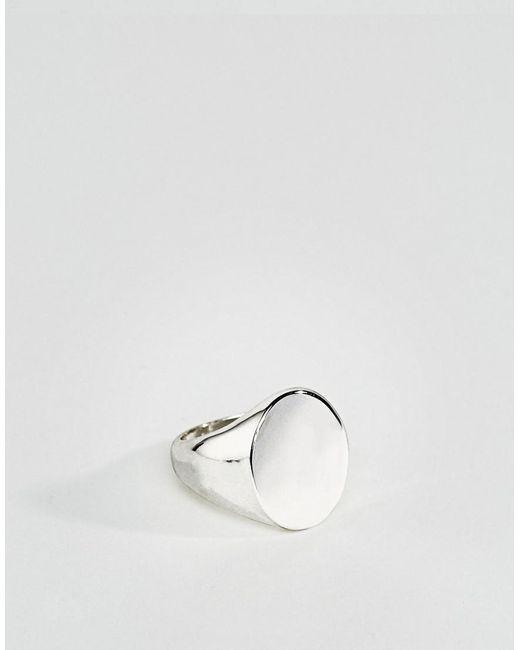 ASOS | Metallic Signet Ring In Silver for Men | Lyst