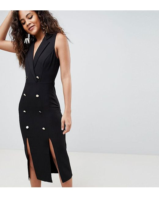 cf8427d5aa ASOS - Black Asos Design Tall Midi Tux Dress With Gold Buttons - Lyst ...