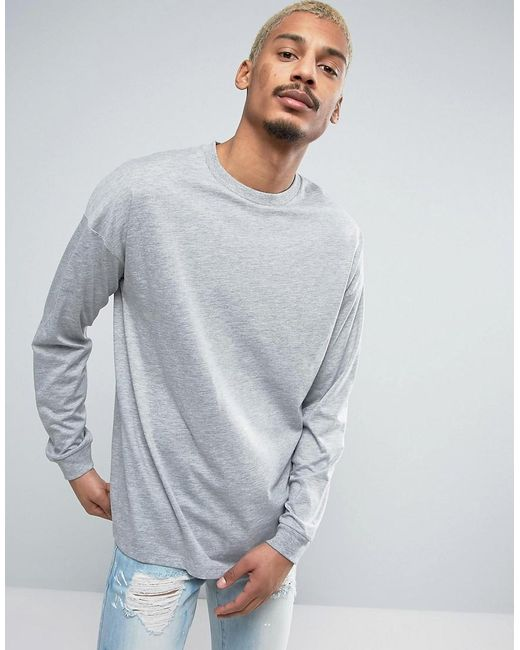 ASOS | Oversized Long Sleeve T-shirt With Cuff In Gray Marl for Men | Lyst