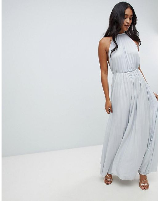 ASOS - Gray High Neck Pleated Maxi Dress - Lyst
