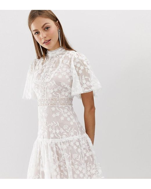 1547417f6fc Forever New - Lace Mini Spliced Dress With Fluted Sleeve In Pink And White  - Lyst ...
