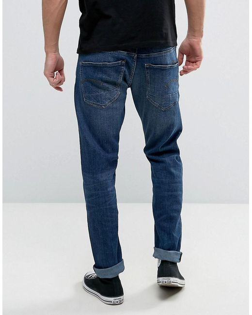 g star raw 3301 slim fit jean medium aged wash in blue for. Black Bedroom Furniture Sets. Home Design Ideas