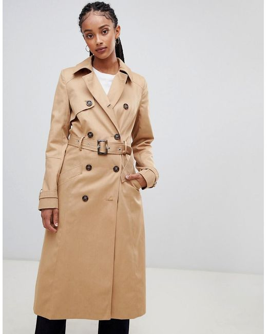 62e83bb43f ASOS - Natural Longline Classic Trench Coat - Lyst ...