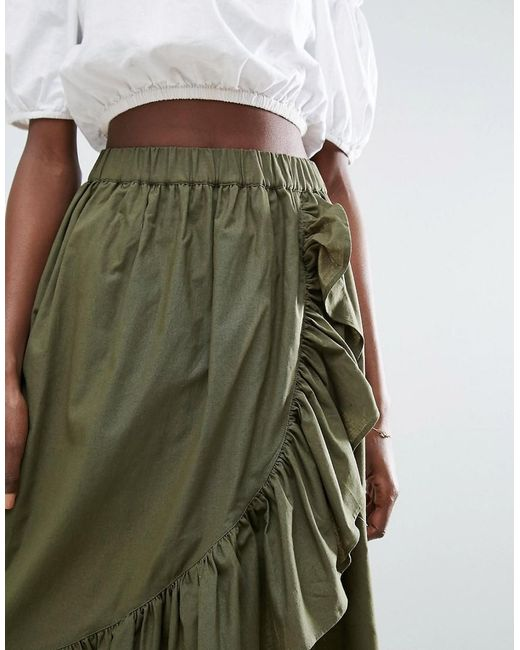 asos wrap midi skirt in cotton with ruffle hem in green lyst
