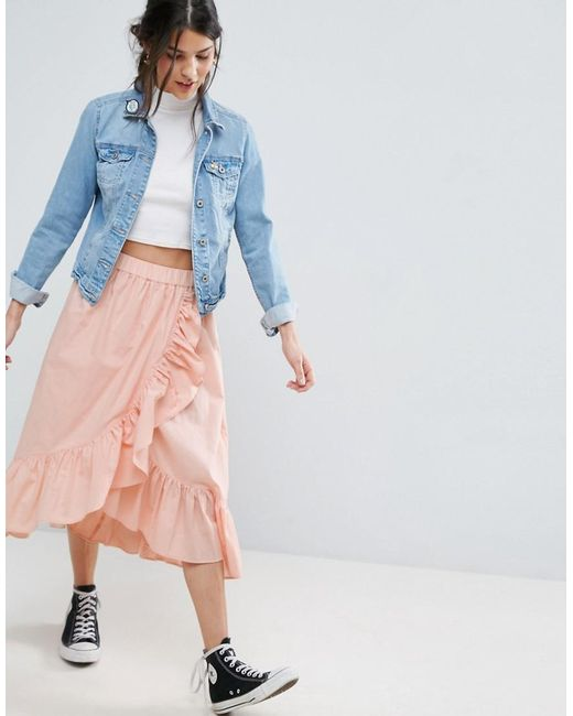 asos wrap midi skirt in cotton with ruffle hem in pink lyst