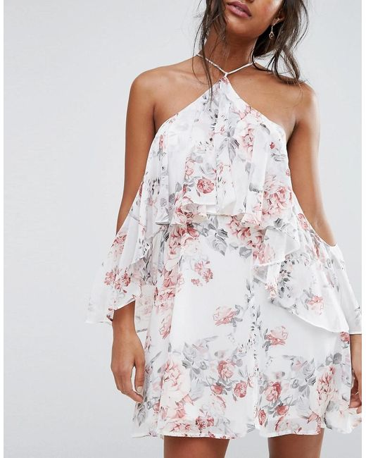 Boohoo Cold Shoulder Floral Ruffle Skater Dress in White | Lyst