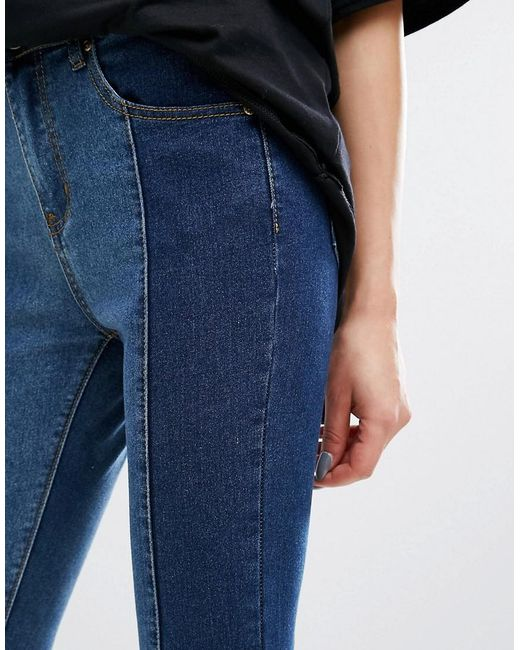 Prettylittlething Contrast Twisted Seam Skinny Jeans In