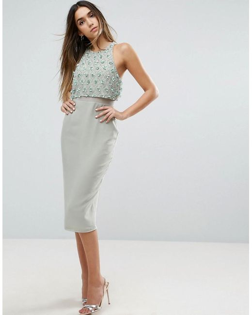 ASOS   Blue Embellished Crop Top Midi Pencil Dress   Lyst