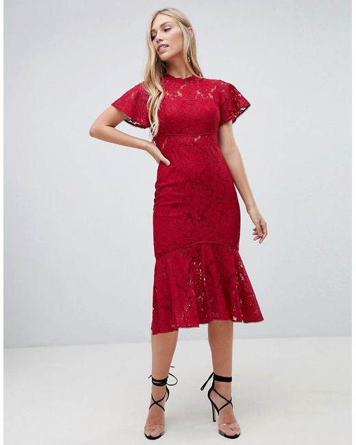 29da3d820e6a Forever New - Red Midi Lace Dress With Frill Sleeve In Berry - Lyst ...