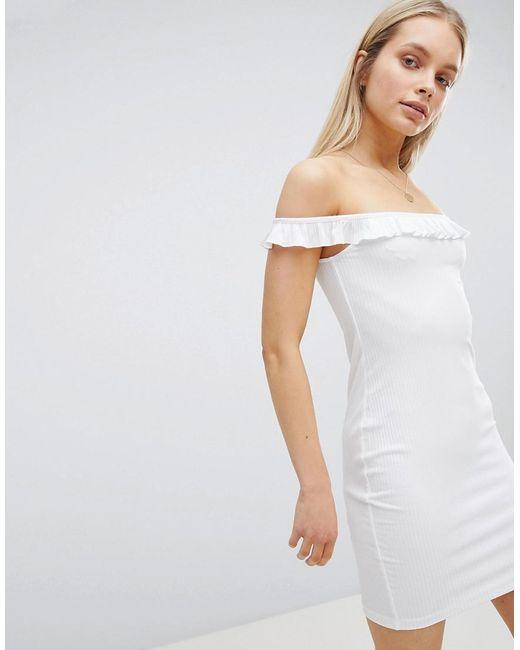 52487148111 ASOS - White Bardot Frill Mini Rib Dress - Lyst ...