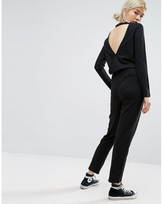 daisy street relaxed jumpsuit with wrap back in black lyst. Black Bedroom Furniture Sets. Home Design Ideas