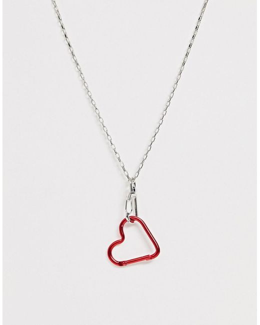 ASOS Metallic Necklace With Heart Clasp Pendant And Fine Hardware Chain In Silver Tone
