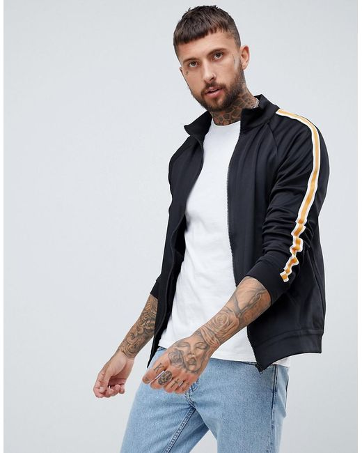 Bershka - Track Jacket In Black With Side Stripe for Men - Lyst