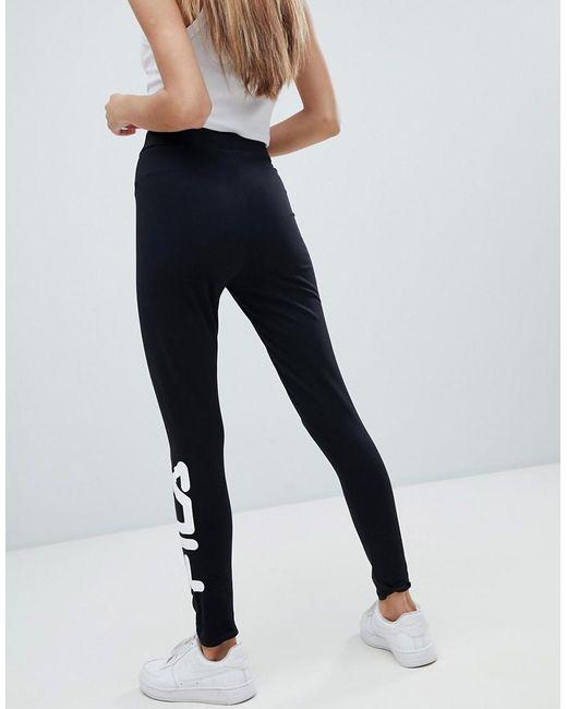 6448285150e8 ... Fila - Black Essential leggings With Ankle Logo - Lyst