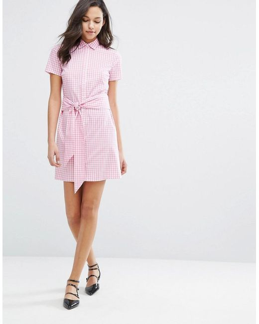 Miss selfridge gingham tie front shirt dress in pink lyst for Pink gingham shirt ladies