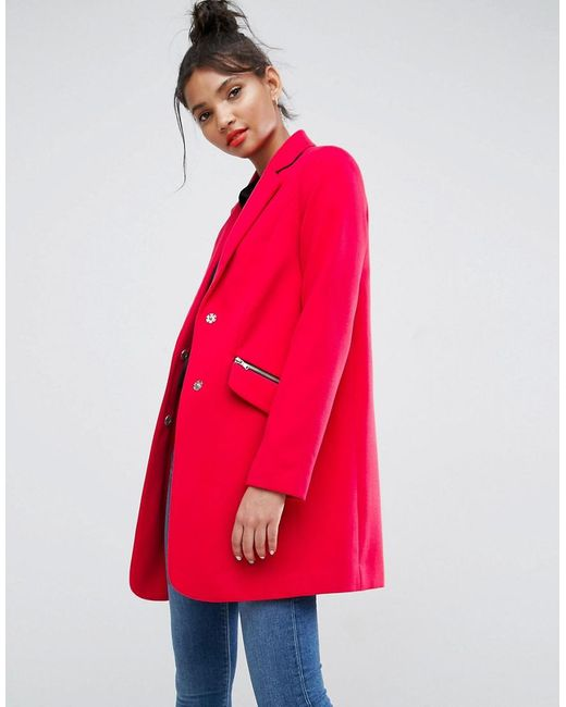 ASOS - Pink Slim Boyfriend Coat With Zip Pocket - Lyst