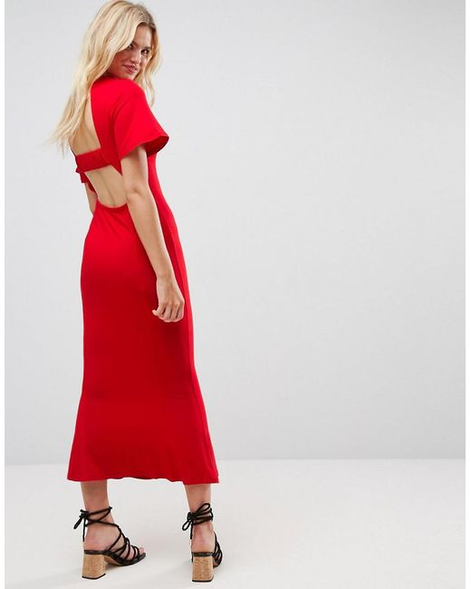 ASOS - Red Maxi Tea Dress With Open Back Detail - Lyst