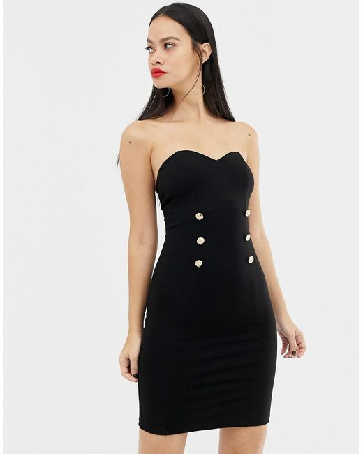 Lyst Unique21 Sweetheart Neckline Midi Dress With Button Detail In