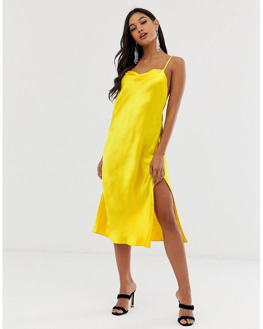 d604bee6e260a ... ASOS - Yellow Cami Midi Slip Dress In High Shine Satin With Strappy  Back - Lyst